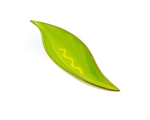 Ceramic Green Serving Dish or Platter, Modern Handmade, Leaf Design, Medium 11.4'' (29cm)