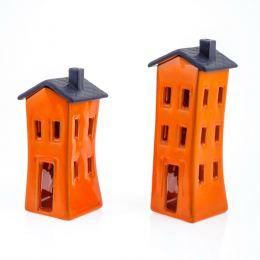 Σετ Κεραμικά Φαναράκια - Σπίτια, Πορτοκαλί - Γκρί, Μικρό & Μεγάλο