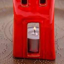 Σετ Κεραμικά Φαναράκια - Σπίτια Κόκκινο - Γκρί, Μικρό & Μεγάλο