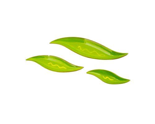 Σετ Πιατέλες, 3 τεμ. - Κεραμικές, Πράσινο, Σχέδιο Φύλλο