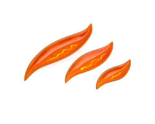 Σετ Πιατέλες, 3 τεμ. - Κεραμικές, Πορτοκαλί, Σχέδιο Φύλλο
