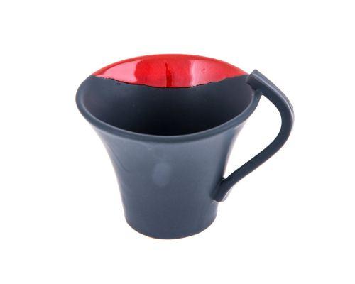 Κούπες Καφέ - Σετ 2 τεμ. Κεραμικές, Γκρι - Κόκκινο