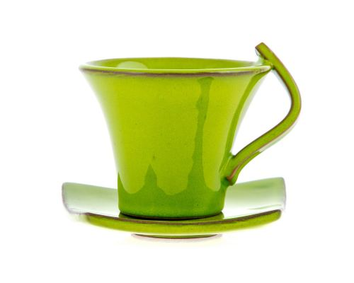 Φλυτζάνια Καφέ 2 τεμ. - Κεραμικό Σετ με Πιατάκια - Πράσινα, Μεγάλα