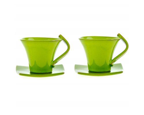 Φλυτζάνια Καφέ 2 τεμ. - Κεραμικό Σετ με Πιατάκια - Πράσινα, Μικρά