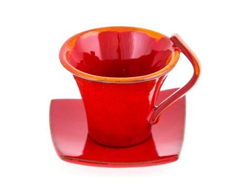 Φλυτζάνια Καφέ 2 τεμ. - Κεραμικό Σετ με Πιατάκια - Κόκκινα, Μεγάλα