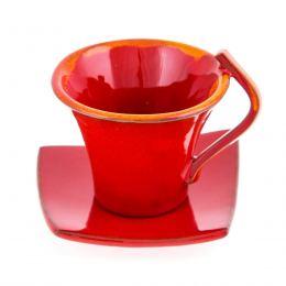 Φλυτζάνια Καφέ 2 τεμ. - Κεραμικό Σετ με Πιατάκια - Κόκκινα, Μικρά