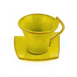 Φλυτζάνια Καφέ 2 τεμ. - Κεραμικό Σετ με Πιατάκια - Κίτρινα, Μεγάλα