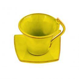 Φλυτζάνια Καφέ 2 τεμ. - Κεραμικό Σετ με Πιατάκια - Κίτρινα, Μικρά