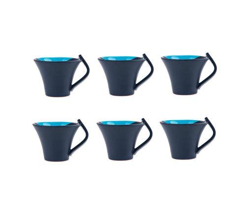 Κούπες Καφέ - Σετ 6 τεμ. Κεραμικές, Γκρι - Μπλε