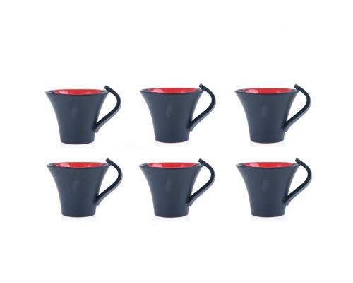 Κούπες Καφέ - Σετ 6 τεμ. Κεραμικές, Γκρι - Κόκκινο