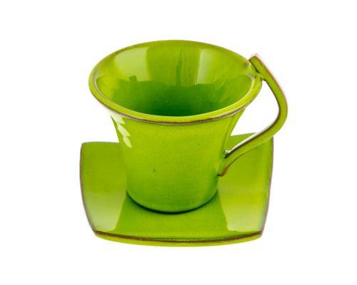 Φλυτζάνια Καφέ 6 τεμ. - Κεραμικό Σετ με Πιατάκια - Πράσινα, Μεγάλα