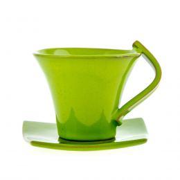 Φλυτζάνια Καφέ 6 τεμ. - Κεραμικό Σετ με Πιατάκια - Πράσινα, Μικρά