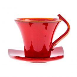 Φλυτζάνια Καφέ 6 τεμ. - Κεραμικό Σετ με Πιατάκια - Κόκκινα, Μεγάλα