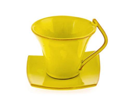 Φλυτζάνια Καφέ 6 τεμ. - Κεραμικό Σετ με Πιατάκια - Κίτρινα, Μεγάλα