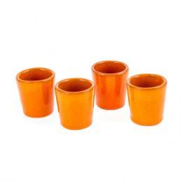 Καράφα με Ποτήρια & Bάση - Κεραμικό Σετ Ρακί, Πορτοκαλί