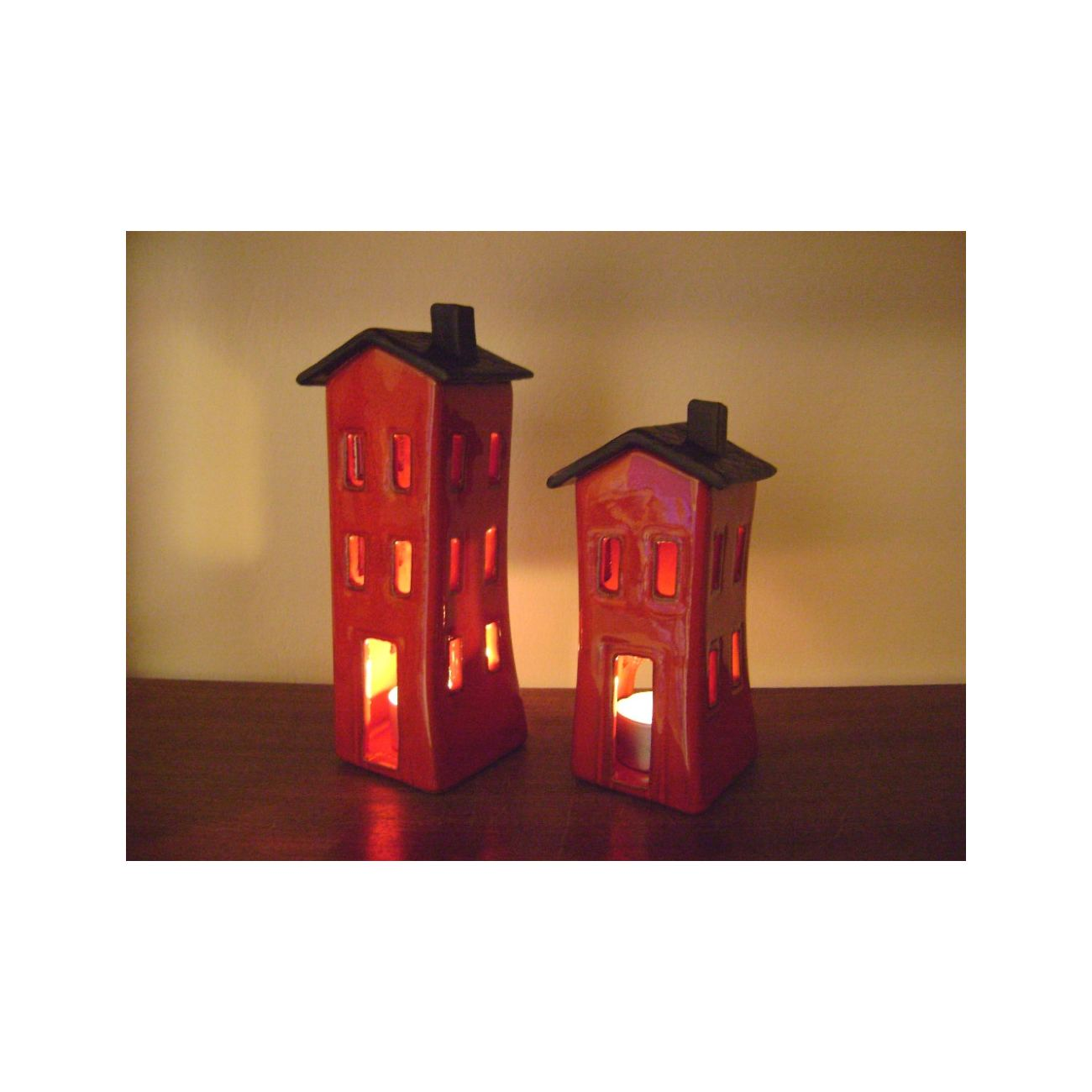 Red Candle Lantern House Design Modern Handmade Ceramic Large