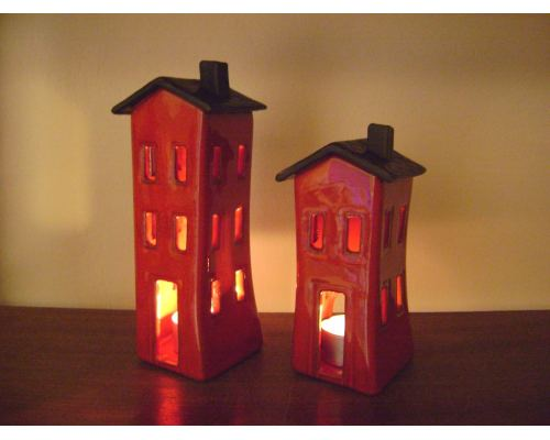 Φαναράκι Διακοσμητικό για Ρεσώ - Κεραμικό, Σπίτι Κόκκινο - Γκρι, Μικρό