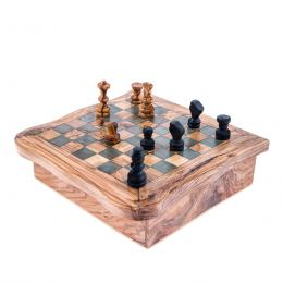 Olive Wood Set of 4 Board Games - Handmade Dominoes, Chess, Solitaire & Checkers