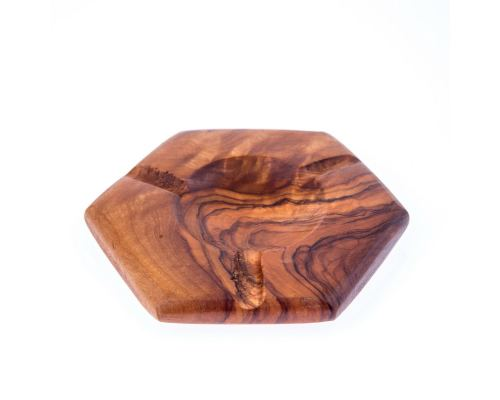 Olive Wood Ashtray, Hexagon Design