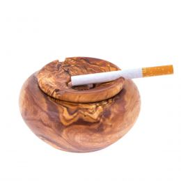 Olive Wood Ashtray with Cover, Round Shape