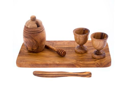 Olive Wood Breakfast Serving Set - Handmade Honey Pot, Honey Dipper, 2 Egg Cups, Butter Knife and Serving Board