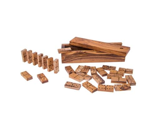 Olive Wood Dominoes Game or Domino Game Set - Handmade