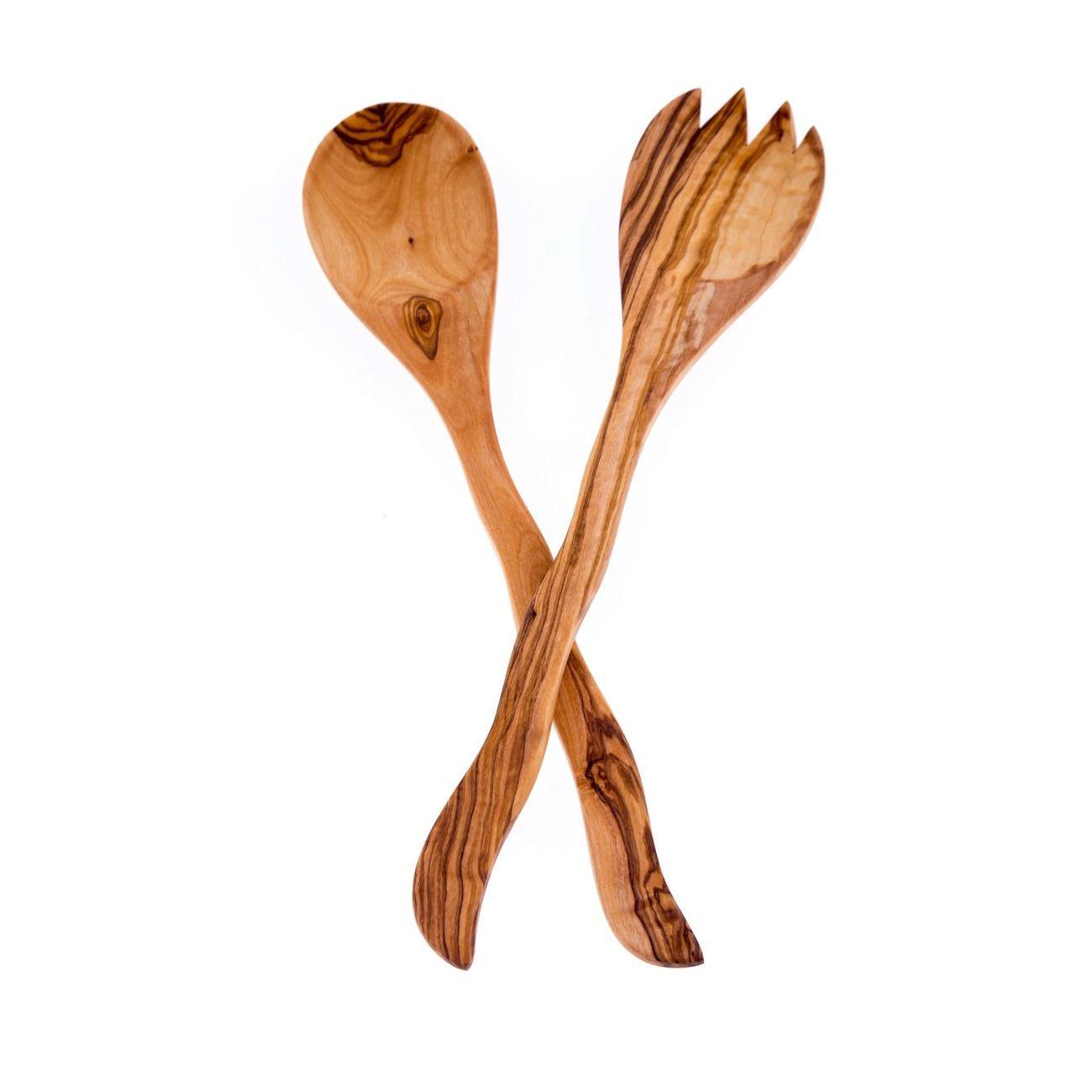 Merveilleux Olive Wood Kitchen Utensils Set Of 2   Handmade Cooking Or Serving Wooden  Fork U0026 Spoon Set ...