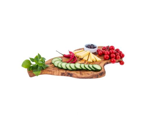Olive Wood, Cutting Board - Handmade Wooden Chopping Board with Handle and Slot - Large 19.6'' (50cm)