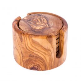 Olive Wood Set of Hexagon Ashtray, Round Tea Light Candle Holder & Round Set of 6 Drink Serving Coasters with Holder