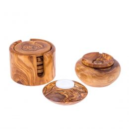 Olive Wood Set of Round Ashtray with Cover, Round Tea Light Candle Holder & Round Set of 6 Drink Serving Coasters with Holder