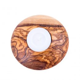 Olive Wood Tea Light Candle Holders Set of 2