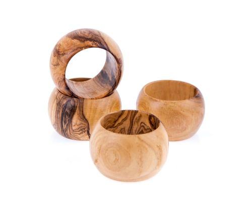 Olive Wood Napkin Rings Set of 4 - Handmade Wooden Napkin Holders