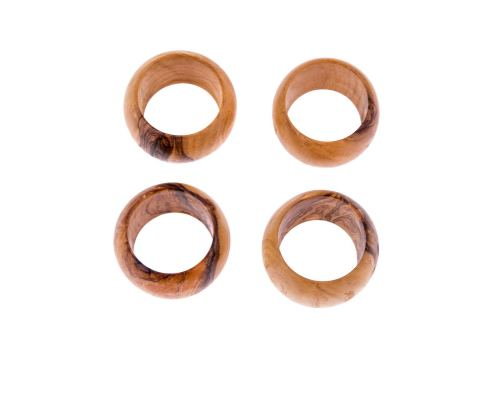 Olive Wood Napkin Rings Set of 4 - Handmade Wooden Napkin Holders