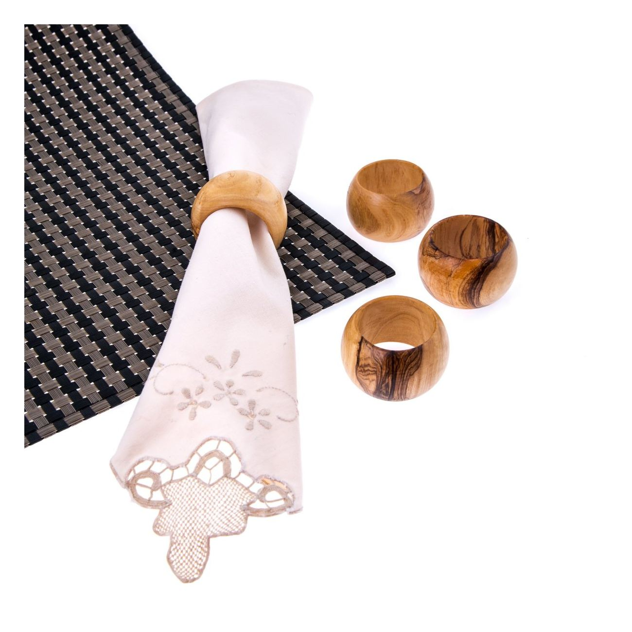 Olive Wood Napkin Rings Set Of 4 Handmade Wooden Napkin Holders