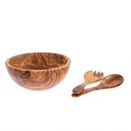 Σετ Μπώλ με Κουτάλα & Πηρούνα από Ξύλο Ελιάς