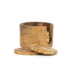 Olive Wood Drink Serving Accessories Handmade, Wooden Drink Coasters Set of 6 with Holder