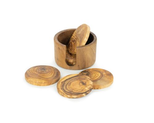 Olive Wood Drink Serving Coasters Handmade, Wooden Drink Coasters Set of 6 with Holder