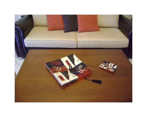 Διακοσμητική Πιατέλα - Γυάλινη, Πορτοκαλί - Μαύρη