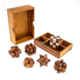 Set of 6 3D Brain Teaser Games - Handmade in a Wooden Box - Mind Puzzles