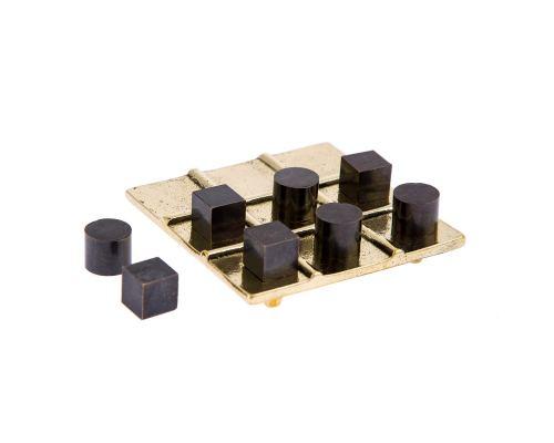 Tic Tac Toe Board Game, Handmade Metal Decorative Ornament - Cubes & Cylinders Design, Gold & Black