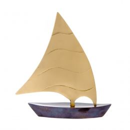Sailing Boat - Handmade Metal Decorative Nautical Ornament - Oxidized Bronze - Large 7.4'' (19cm)