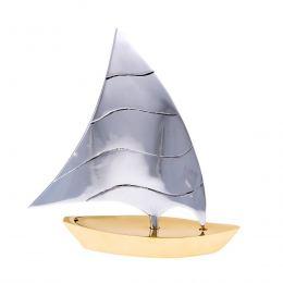 Sailing Boat - Handmade Metal Decorative Nautical Ornament - Bronze & Aluminum - Large 7.4'' (19cm)