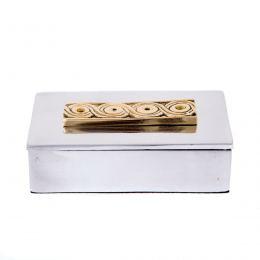 Decorative Box - Desk Accessory - Archaic Design - Handmade Solid Aluminum & Bronze
