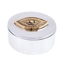 Decorative Box - Desk Accessory - Eye Design - Handmade Solid Aluminum & Bronze