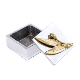 Decorative Box - Desk Accessory - Olive Branch Design - Handmade Solid Aluminum & Bronze
