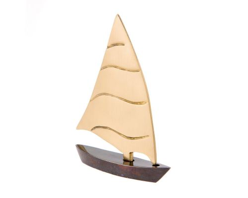 Sailing Boat - Handmade Metal Decorative Nautical Ornament - Oxidized Bronze - Small 4.3'' (11cm)