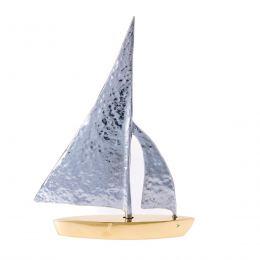 Μεταλλικό Διακοσμητικό - Καράβι Σφυρήλατο, Μεσαίο, Ασημί