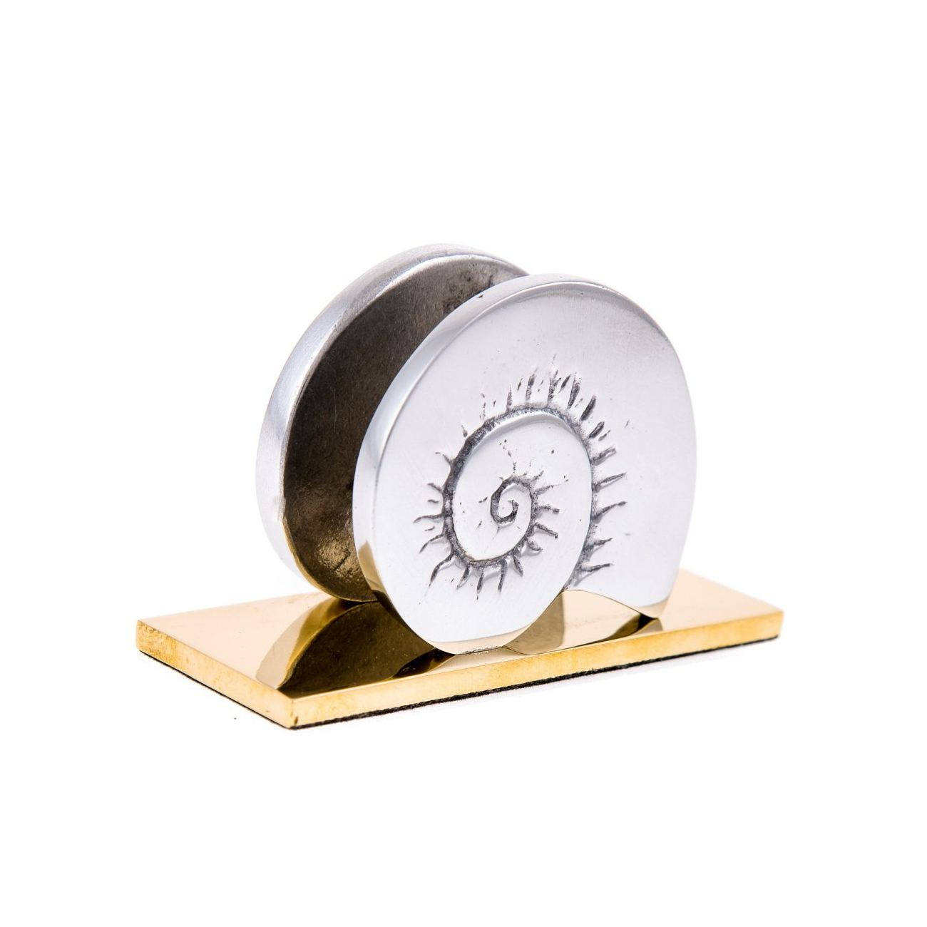 Handmade Modern Solid Metal Nautilus Design Business Card Holder