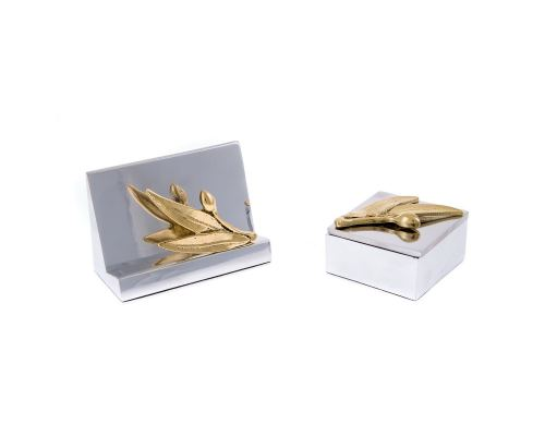 Desk Accessories Set of 2 - Olive Branch Design - Handmade Solid Metal - Decorative Storage Box, Business Card Holder