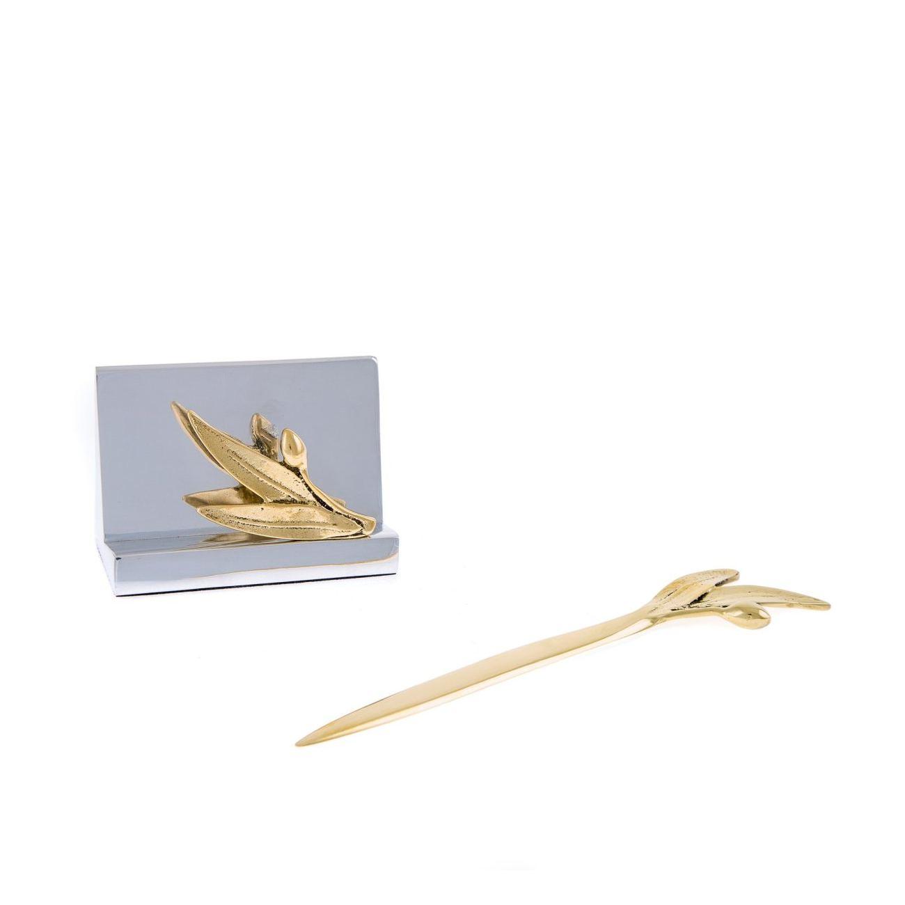 Desk Accessories Set of 2 - Olive Branch Design - Handmade Solid ...